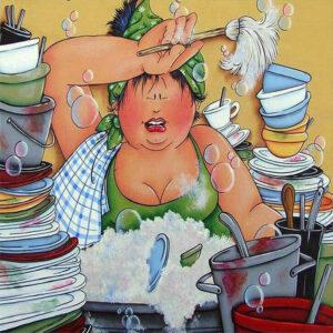 Diamond painting dikke dames keuken