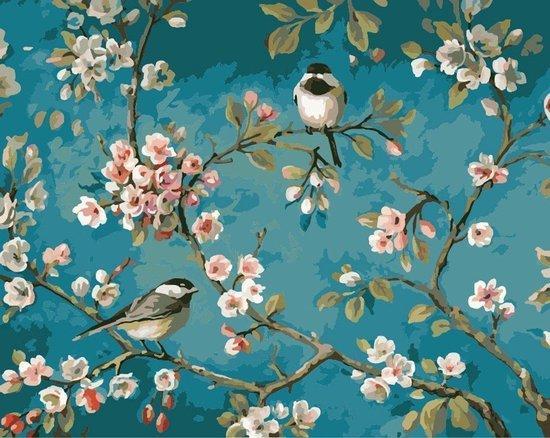 Diamond painting vogels en bloemen