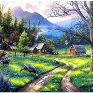 Diamond painting berglandschap