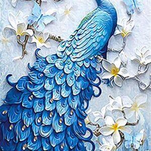 diamond painting blauw pauw