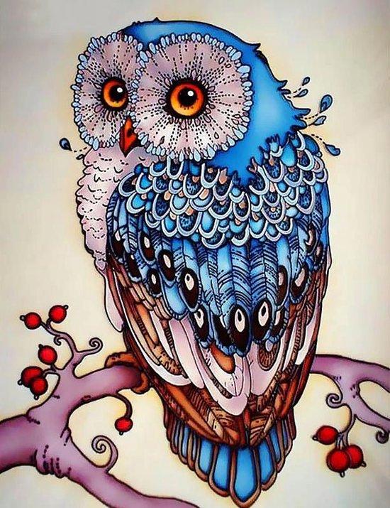 diamond painting blauwe uil