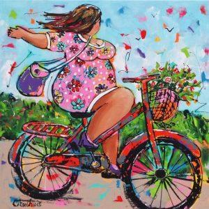 diamond painting dikke dames op de fiets