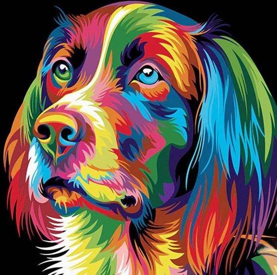 diamond painting gekleurde hond