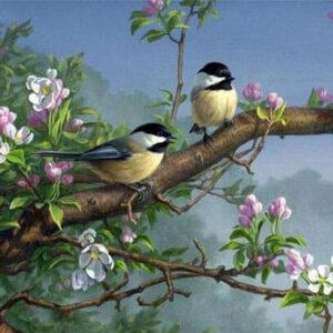 diamond painting vogels op stok