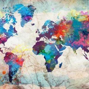diamond painting wereldkaart kleurrijk