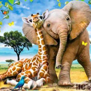 Diamond painting blije giraffe met olifant