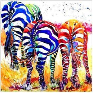 Diamond painting kleurrijke zebra