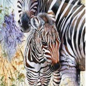 Diamond painting zebra met jong
