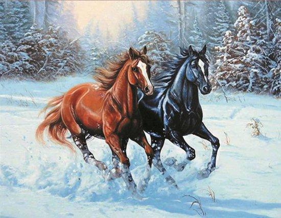 Paarden in sneeuw