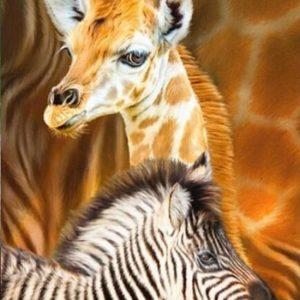 diamond painting zebra en giraffe
