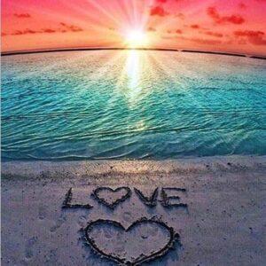 diamond painting zonsondergang love